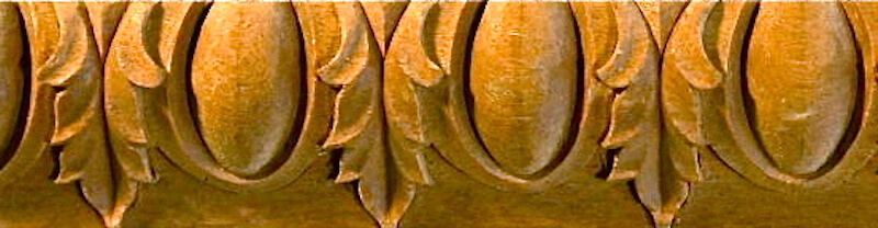Wood-carved Roman-style egg and leaf moulding by Agrell Architectural Carving.