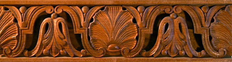 Wood-carved shell and acanthus moulding by Agrell Architectural Carving.