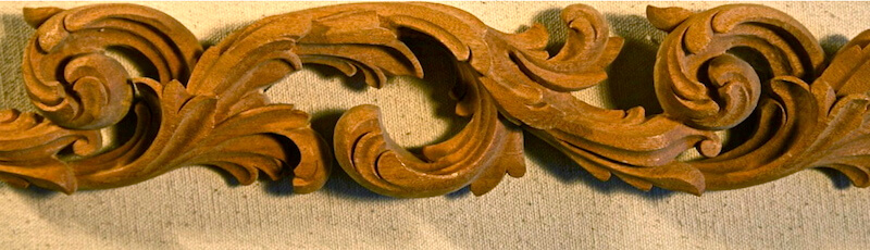 Wood-carved pierced acanthus scroll moulding by Agrell Architectural Carving.