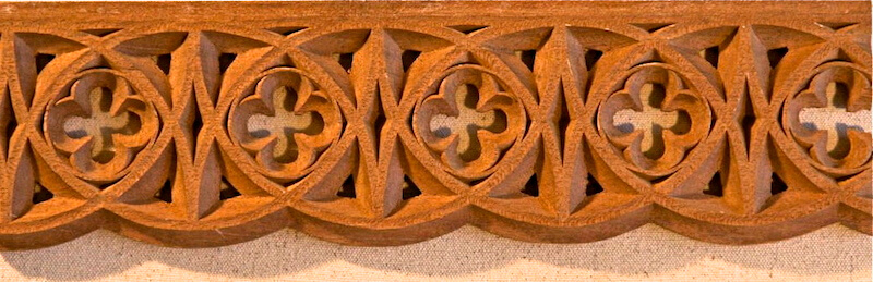 Wood-carved Gothic tracery for the Cathedral of the Madeleine in Salt Lake City. By Agrell Architectural Carving.