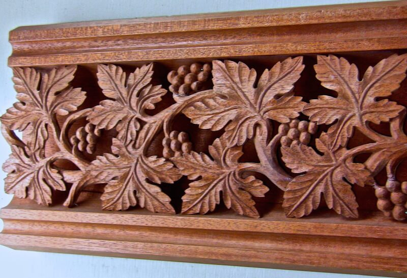 Pierced Gothic grapevine moulding based on a woodcarving found at Southwell Minster in Nottingham, England. By Agrell Architectural Carving.
