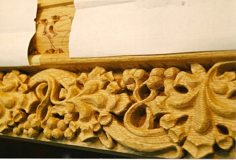 Wood-carved Gothic-style grapevine moulding for the Hermitage Museum, Va. By Agrell Architectural Carving.