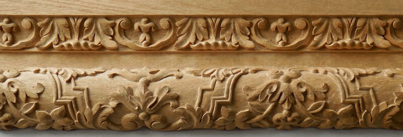 A pair of French-style mouldings based on designs found at Versailles. By Agrell Architectural Carving.