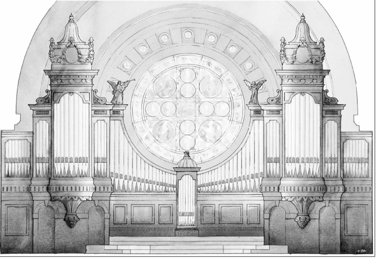 Duncan Stroik's sketch of the organ case of the Cathedral of St. Paul, Minn.