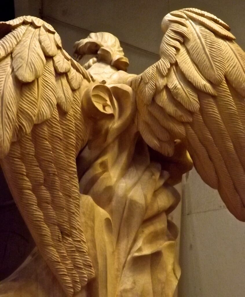 Detail of an angel woodcarving