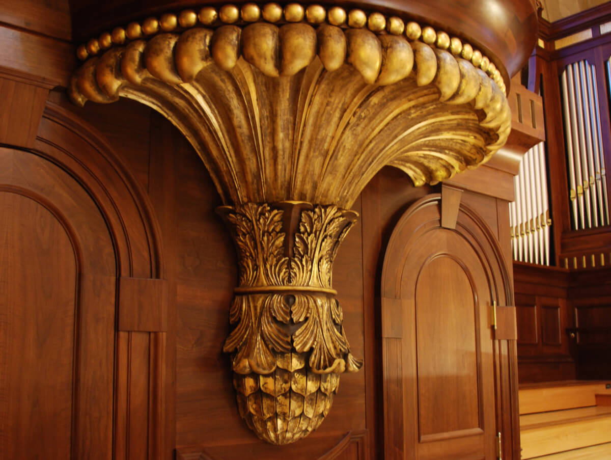 Carved wood bracket, hand-carved and gilded