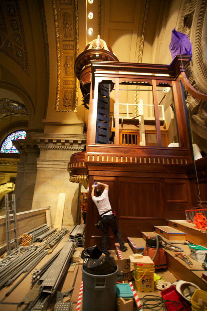 Installation of the organ case for the Cathedral of St. Paul, Minn.