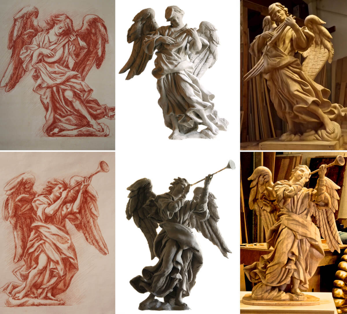 This image shows the progression from artist's concept through to final woodcarving. We usually build a scale maquette that is approved by the client before starting on the actual sculpture.
