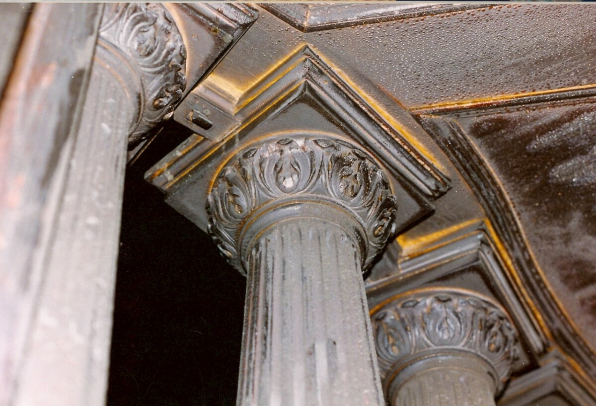Fire-damaged Doric capitals at the Utah Governor's Mansion