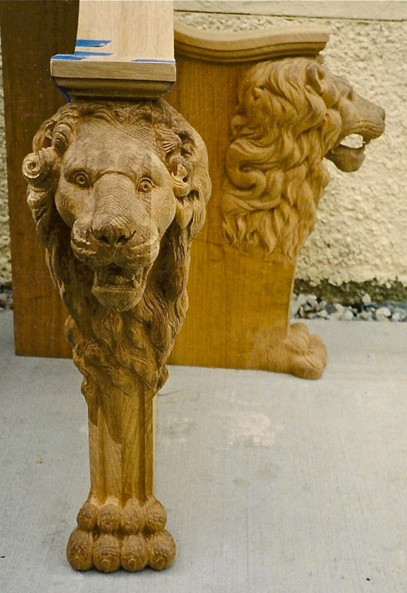 Hand-carved lion bench
