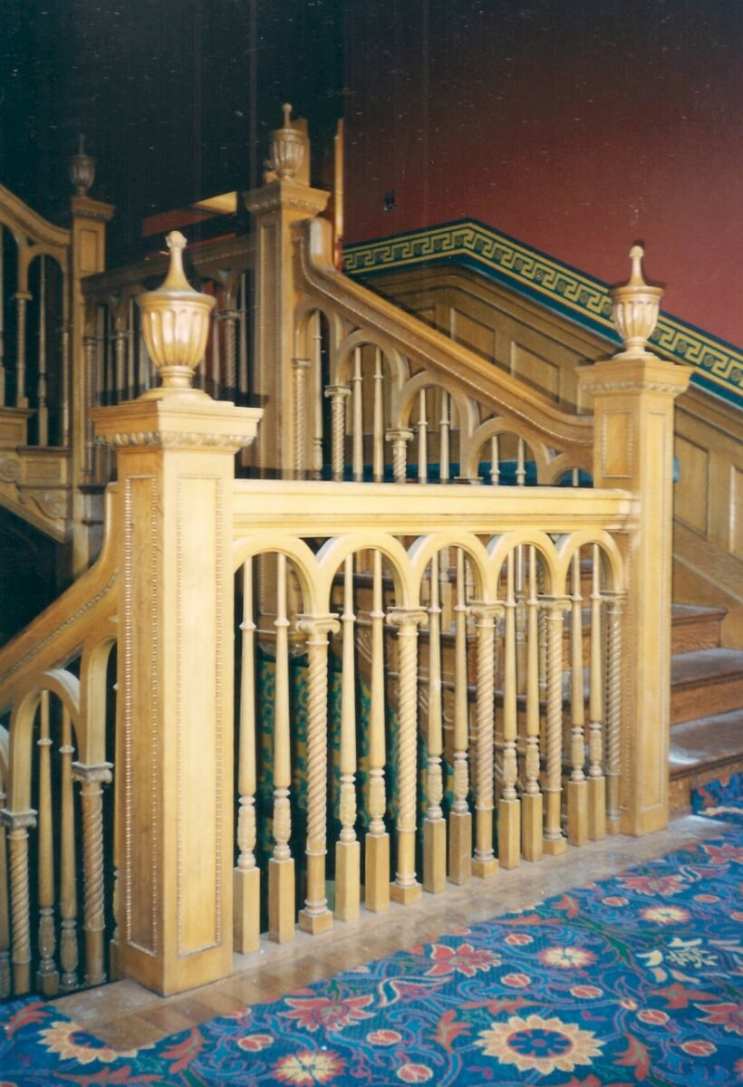 Hand-carved oak balusters
