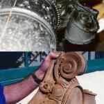 Hand-carved wood Ionic capital