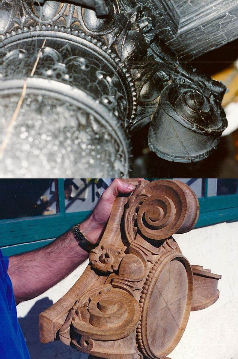 Hand-carved wood Ionic capital
