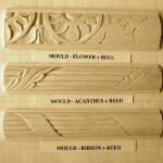 Bellflower and reed-based moulding motifs.
