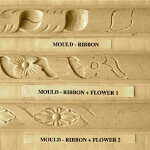 Ribbon-based moulding motifs.