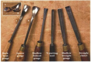 An array of common carving tools