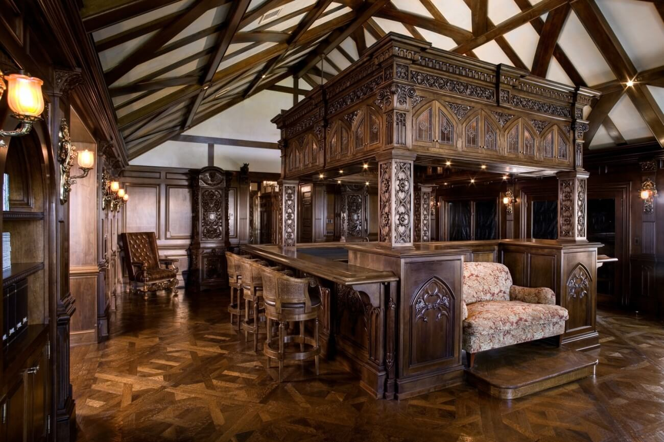 Bar with hand-carved decoration at Malinard Manor