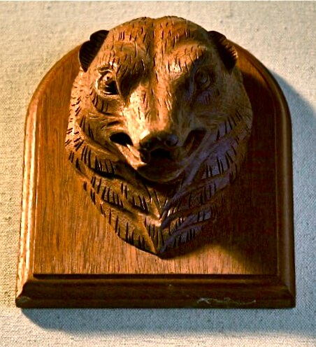 Hand-carved grizzly bear
