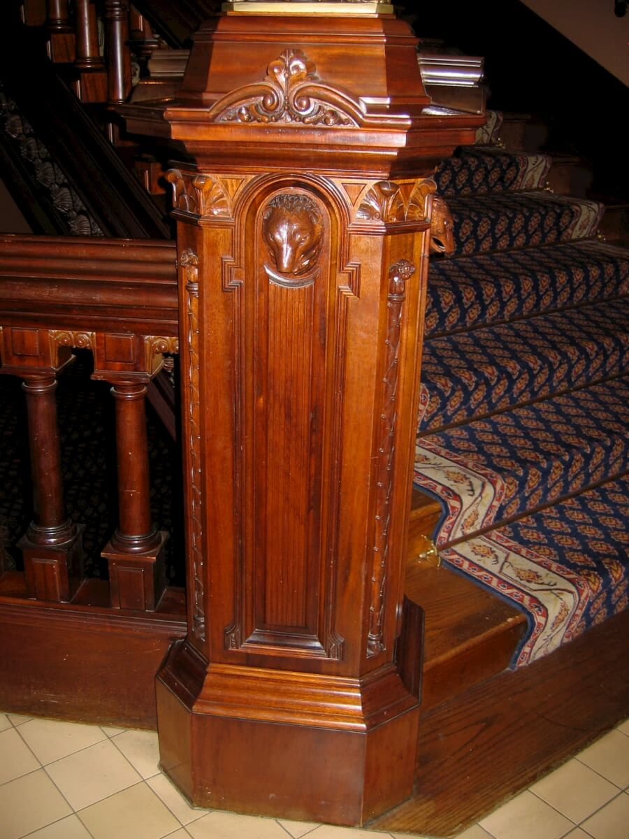Hand-carved newel post