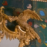 Detail of a Rococo-style ho-ho bird, hand-carved and gilded by Agrell Architectural Carving