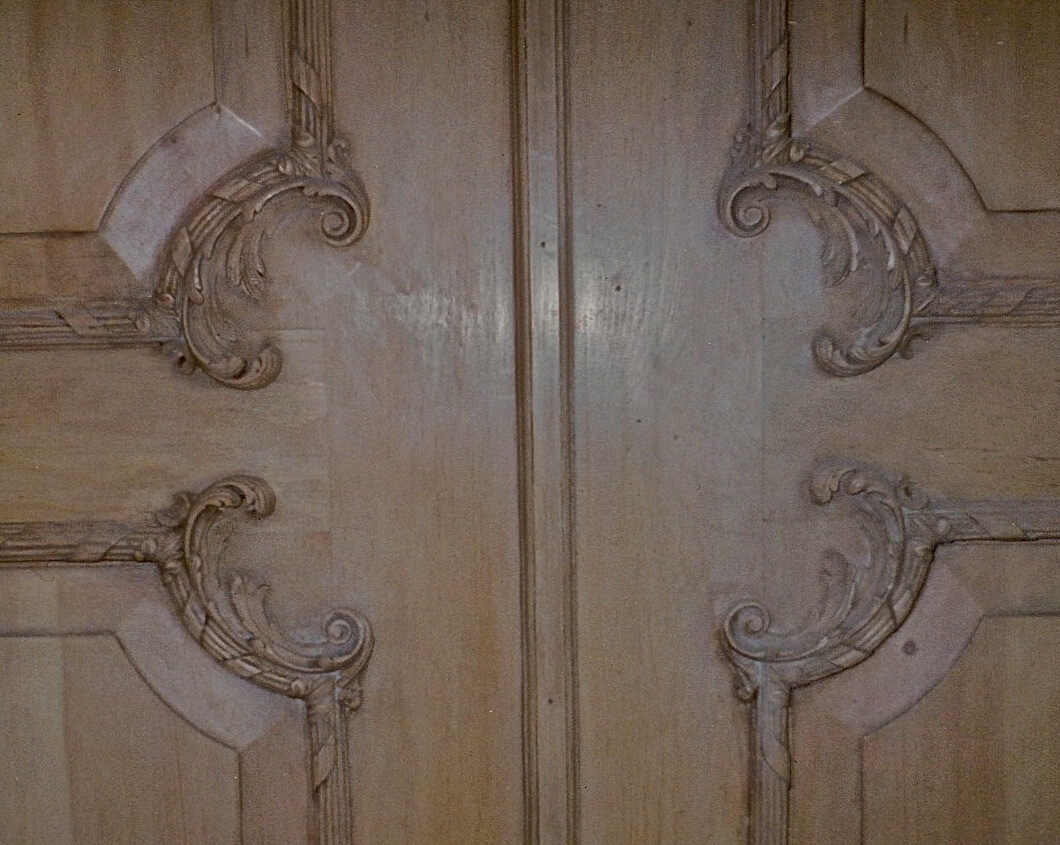Rococo-style wood doors, hand-carved by Agrell Architectural Carving