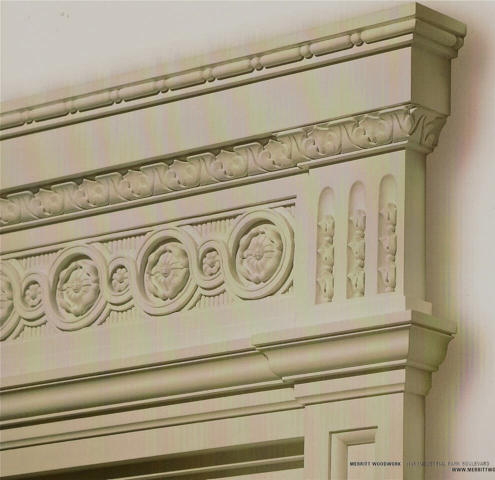 Neoclassical-style over-door, hand-carved in wood by Agrell Architectural Carving