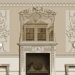 Design for a neoclassical-style room, with decorative panels and a fire surround. Rendered by Adam Thorpe for Agrell Architectural Carving