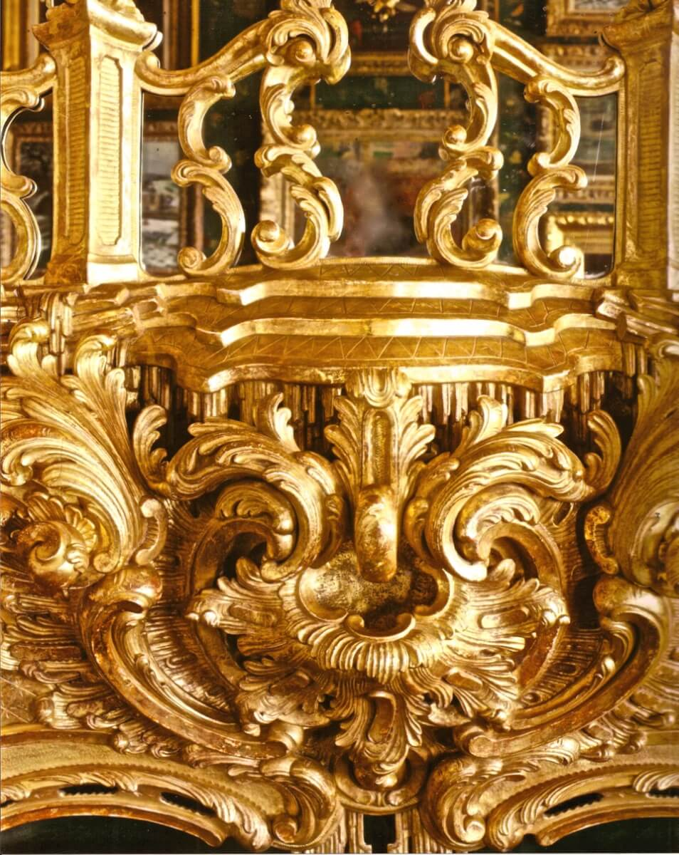 Detail of a Rococo fire surround, hand-carved and gilded by Agrell Architectural Carving
