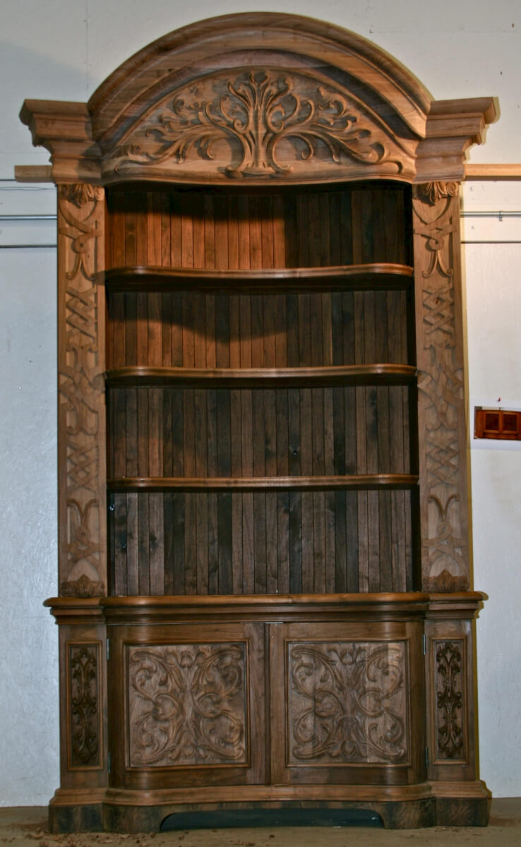 Baroque-style walnut bookcase, built and hand-carved by Agrell Architectural Carving
