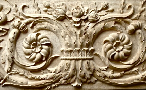 Versailles-style panel hand-carved in wood