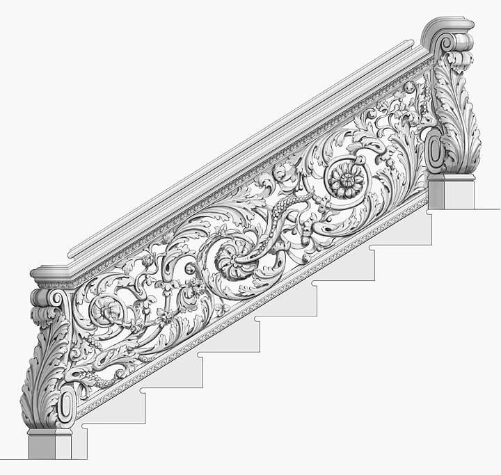 Renaissance-style balustrade designed by Adam Thorpe
