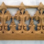 Gothic cresting woodcarving for a modern Gothic-style bathroom. By Agrell Architectural Carving.