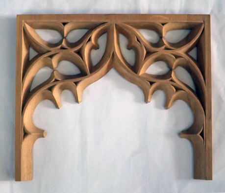 We also recommended that the tracery be applied onto Ecoism's panels rather than carved into them. This significantly reduced the lead time as we were able to carve the ornaments while Ecoism produced the panels. Applied carvings can also reduce cost because they require a lot less labor on our end.