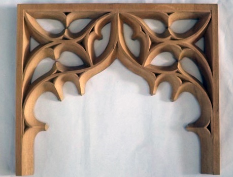 Gothic tracery woodcarving for a modern Gothic-style bathroom. By Agrell Architectural Carving.