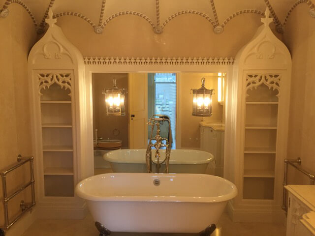 Gothic-style bathroom featuring woodcarvings by Agrell Architectural Carving