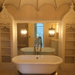 Modern Gothic-style bathroom featuring woodcarving by Agrell Architectural Carving.