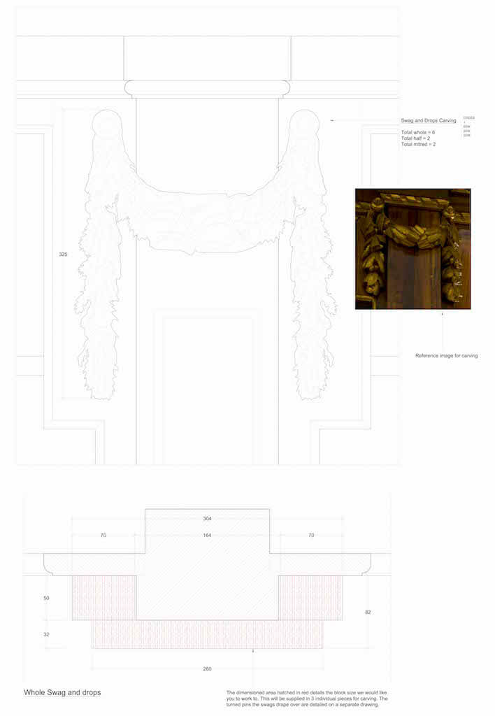 Plans and art reference for hand-carved swags