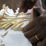 Acanthus flourish being hand-carved