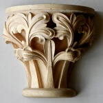 Carved wood Gothic capital