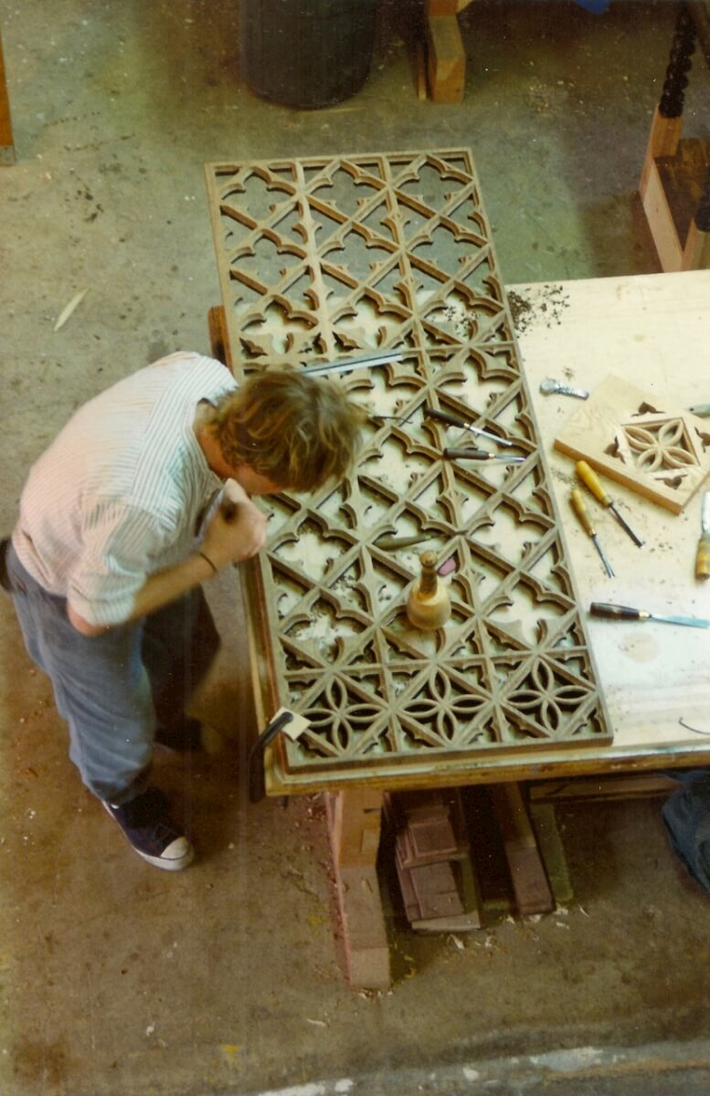 Hand-carving the screen for the Cathedral of the Madeleine