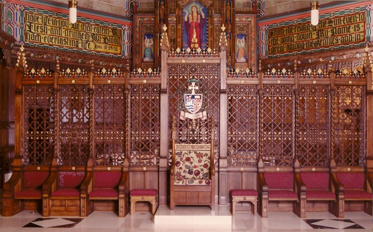 Heraldry and furniture at the Cathedral of the Madeleine