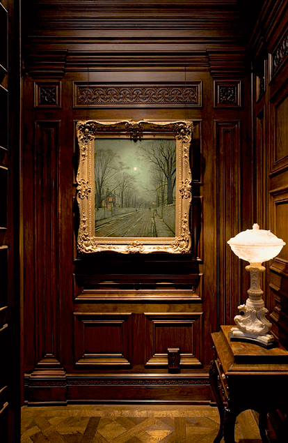 Hand-carved walnut paneling
