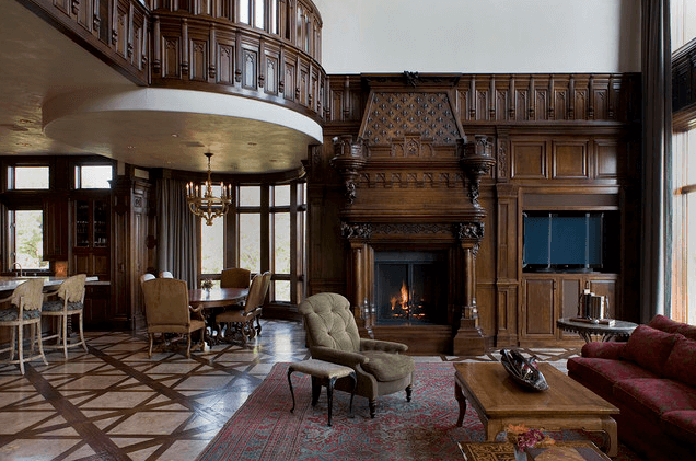 Hand-carved walnut interior