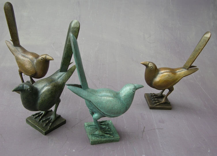 Art Deco-style cast bronze birds