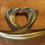 Art Nouveau draw pull, cast in bronze
