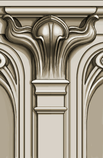 Detail: Art Nouveau-style bronze capital