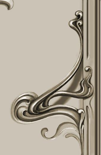 Detail: Bronze Art Nouveau-style hardware