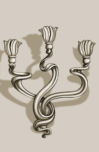 Detail: Art Nouveau-style sconce