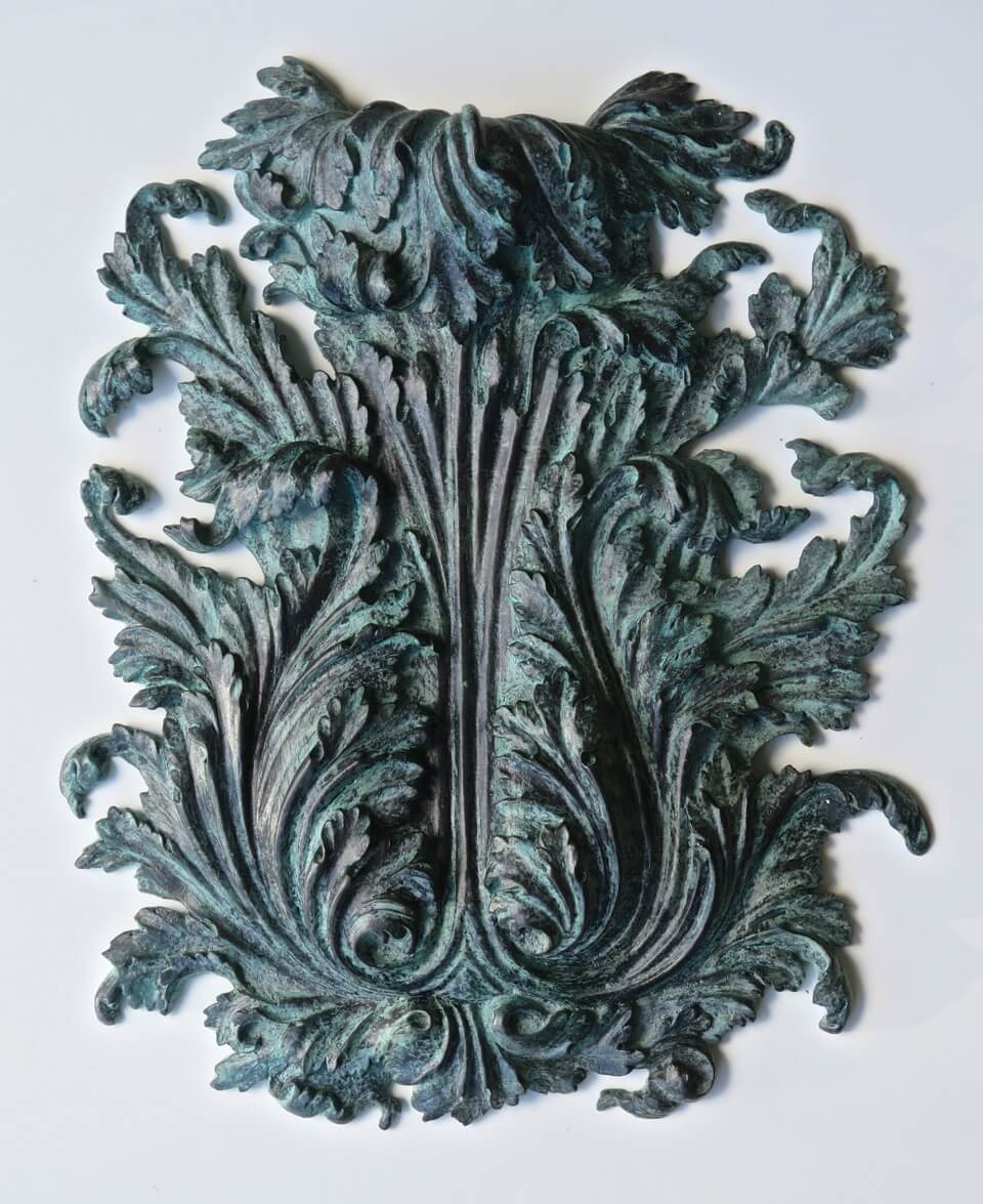 Bronze acanthus leaf cast from a hand-carved wood master