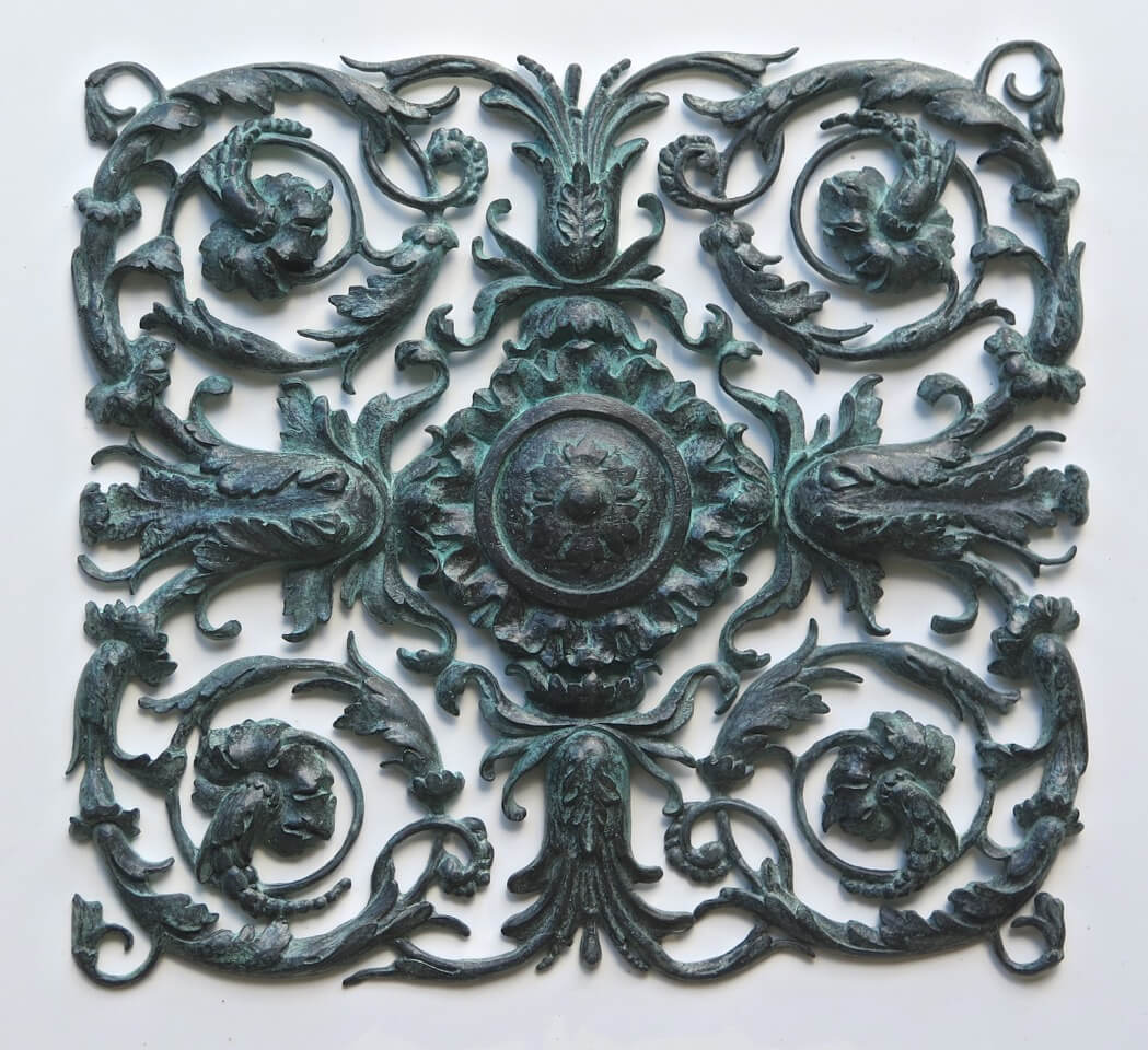 Renaissance-style panel, cast in bronze from a hand-carved master